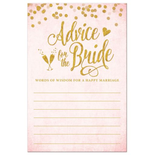 Blush Pink & Gold Advice for the Bride Cards by The Spotted Olive