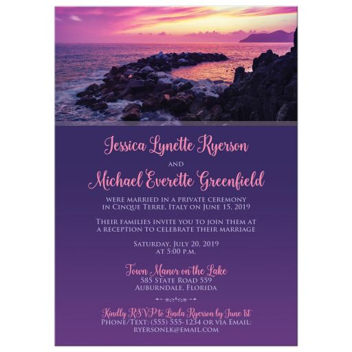 Hot fuchsia pink, purple beach, rocky shore, ocean, destination post wedding reception invites with photo template.