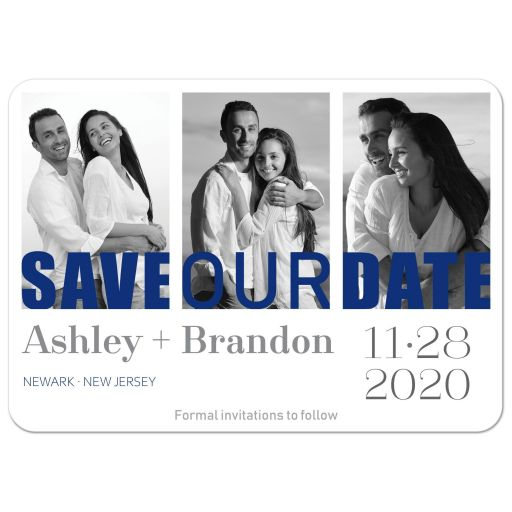 Triple photo wedding save the date card in royal blue, grey gray, and white with modern typography.