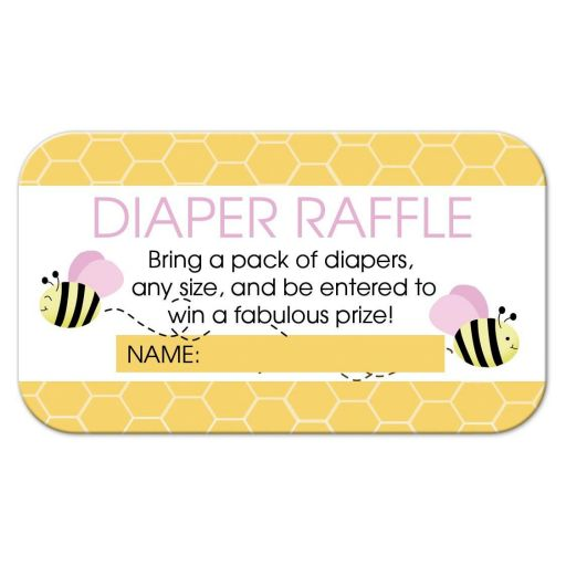 Bumble Bee Pink Girl Diaper Raffle Card for a girl baby shower