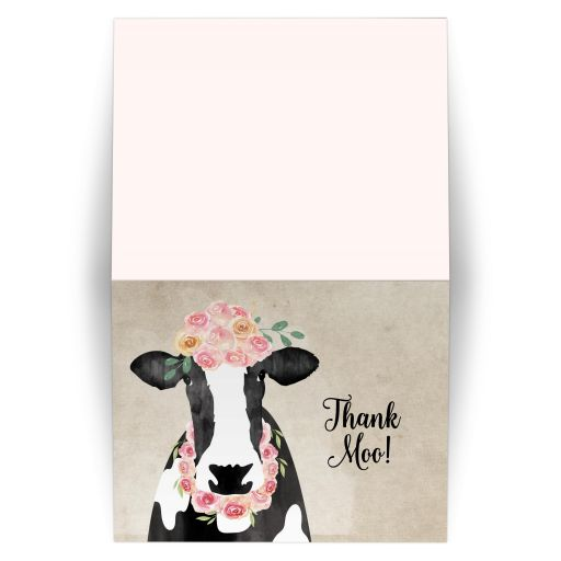 Watercolor Cow with Crown of flowers Thank you notes