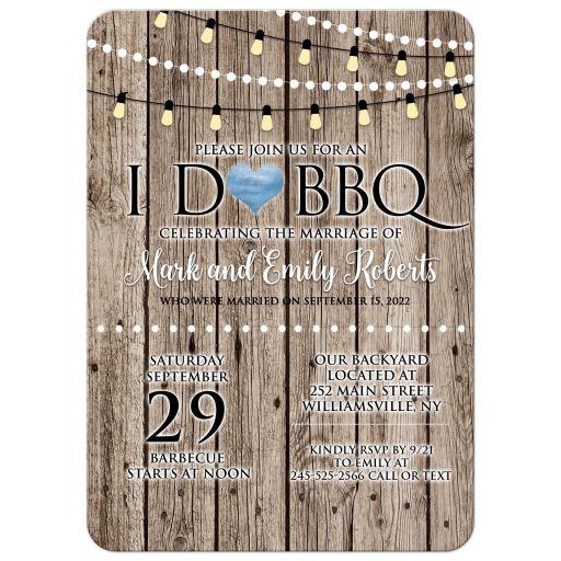 I Do Barbecue BBQ Rustic Wood String Lights Post Wedding Invitation