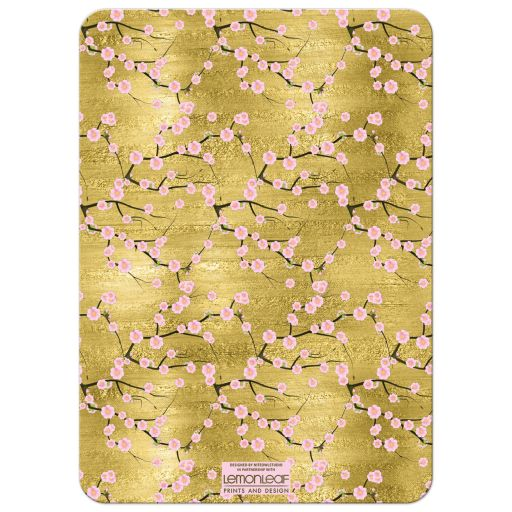 Black, gold, pink cherry blossoms surprise 50th birthday party invitation.