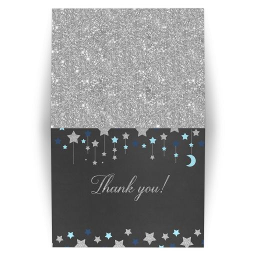 Twinkle Twinkle Little Star Thank you Note Chalkboard, Silver Glitter, and Blue Stars