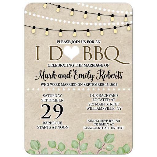 Post Wedding Barbecue I Do BBQ Wedding Invitations