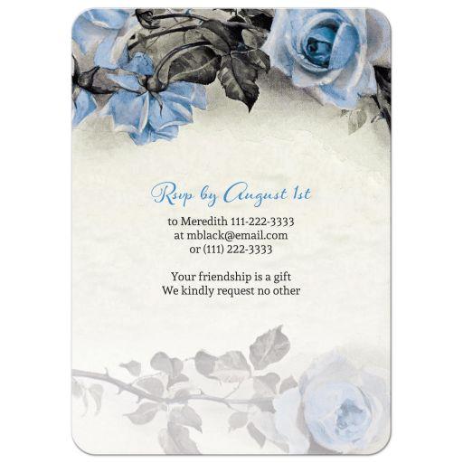 Vintage blue, grey (gray), and ivory rose illustration 80th birthday party invitation back