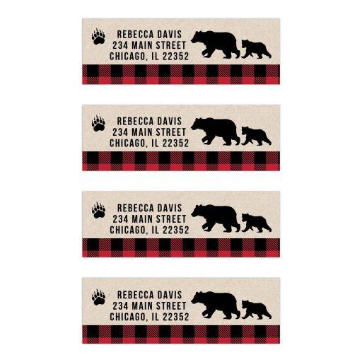 Buffalo Plaid Black Bear Return Address Labels