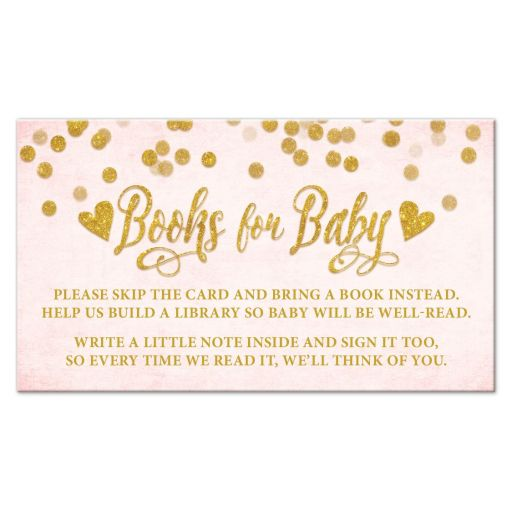 Blush Pink & Gold Books for Baby Cards by The Spotted Olive