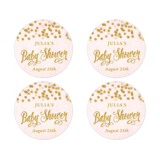 Blush Pink & Gold Baby Shower Stickers by The Spotted Olive
