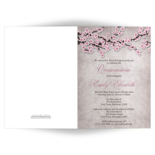 Quinceañera Invitations, Folded - Rustic Pink Cherry Blossom