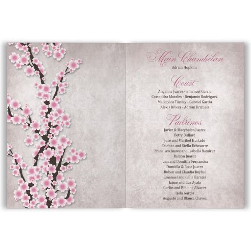 Quinceañera Invitations, Folded - Rustic Pink Cherry Blossom INSIDE