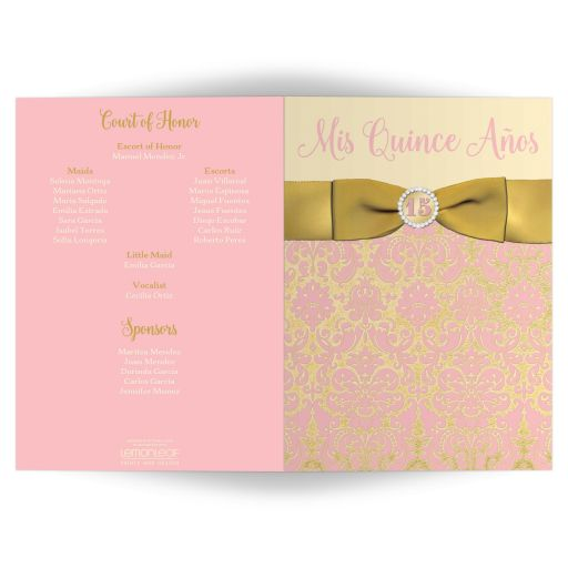 Blush pink, gold, champagne, and ivory folded card style Quinceanera invitation with gold ribbon, jewels, tiara, and double photo templates.