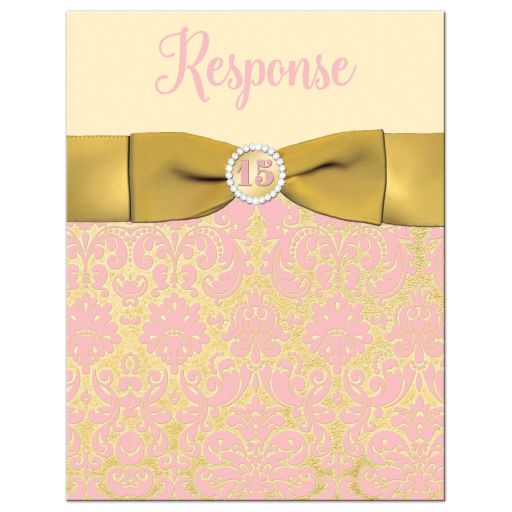 Blush pink, champagne, and gold damask Quinceanera RSVP cards with gold ribbon, bow, jewel brooch, ornate scroll frame, decorative scrolls and pink tiara.