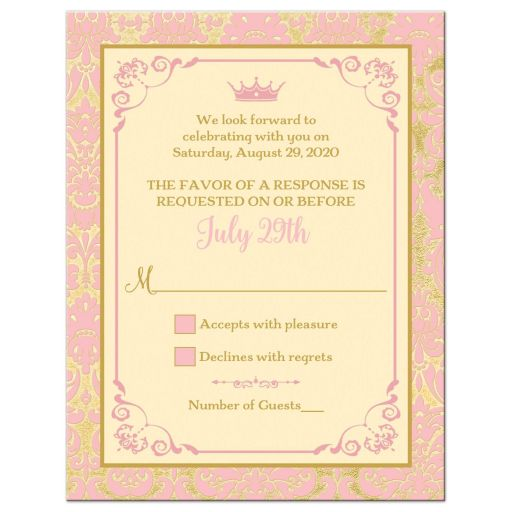 Blush pink, champagne, and gold damask Quinceanera response card with gold ribbon, bow, jewel brooch, ornate scroll frame, decorative scrolls and pink tiara.