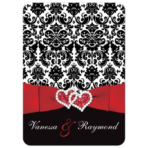 Romantic black, red, and white damask wedding invitation with ribbon and joined hearts