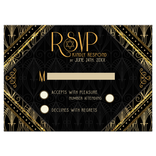 Art Gold Black Gold Bar Mitzvah Reply RSVP