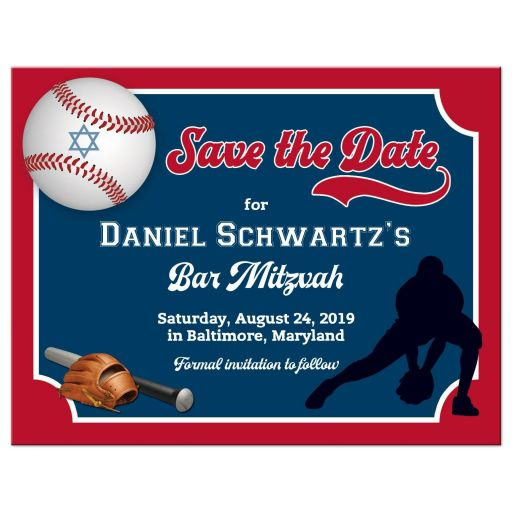 Red, blue, and white Baseball theme Bar Mitzvah or Bat Mitzvah save the date magnet with baseball player, baseball bat, glove, and baseball with Star of David.