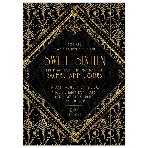 Gatsby Sweet 16 Invitation | Black Gold Art Deco