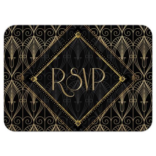 Gatsby RSVP Card | Black Gold Art Deco RSVP Card