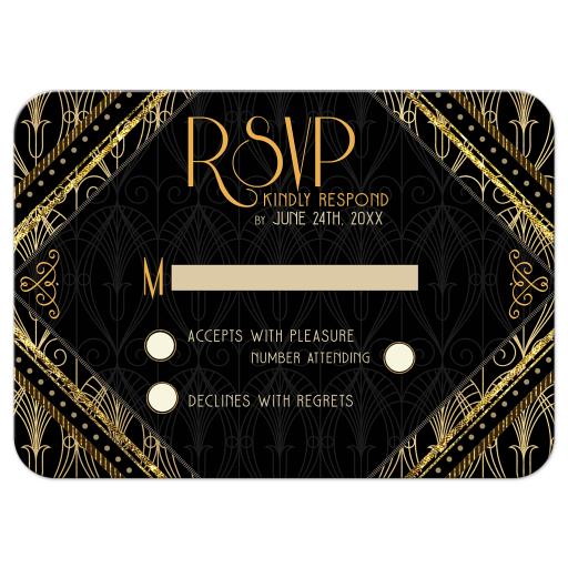 Gold Black Art Deco RSVP Card