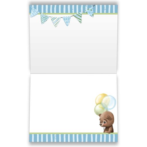 ​Cute chalkboard baby shower thank you note cards with brown bear wearing a denim ball cap while riding a scooter with blue, green, and yellow balloons and bunting.