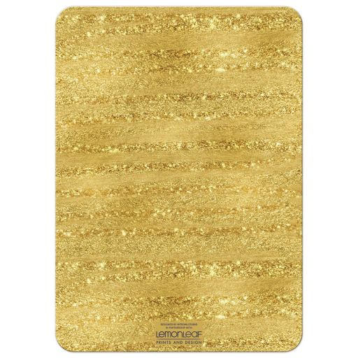 Navy Blue, white, and gold foil striped 40th wedding anniversary invites with formal gold chandelier.