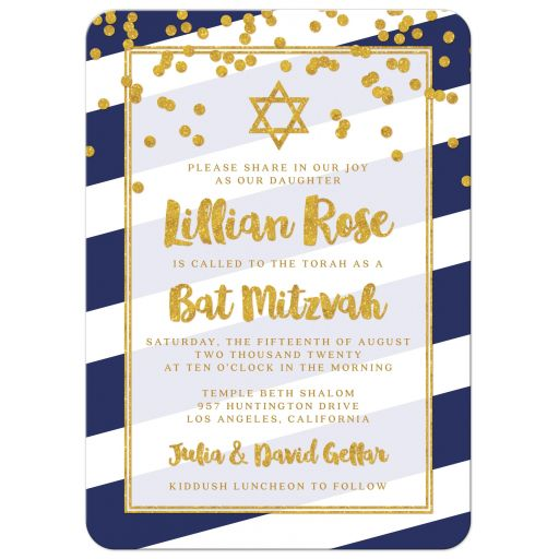 Navy Stripes & Gold Confetti Bat Mitzvah Invitations by The Spotted Olive