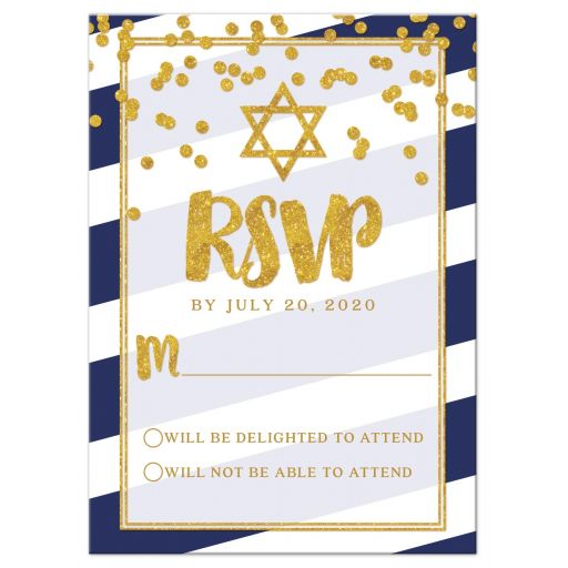 Navy Stripes & Gold Confetti Bat Mitzvah RSVP Cards by The Spotted Olive