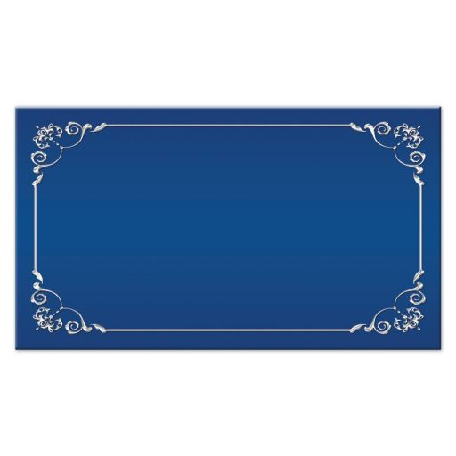 Royal blue and silver floral wedding place cards or escort cards with ribbon, bow, and joined jeweled hearts brooch.