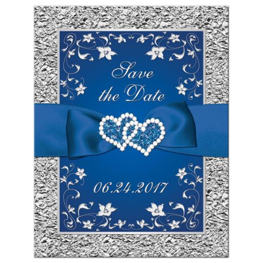 Best royal blue and silver grey floral wedding save the date card with ribbon, bow, glitter, jewels, joined hearts and scrolls.