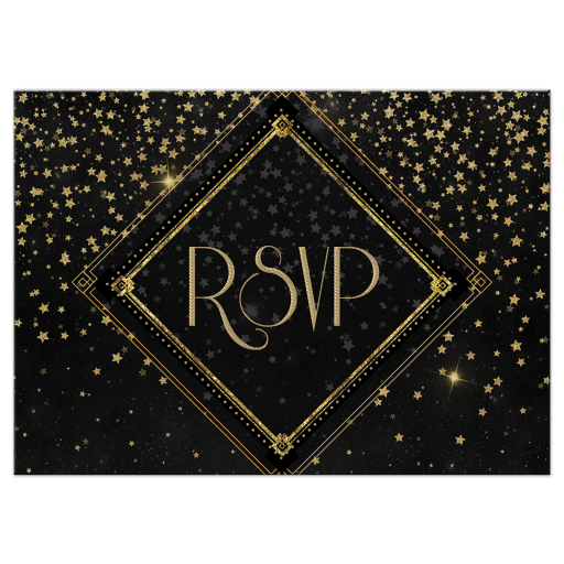 Black and gold rsvp cards (cover)