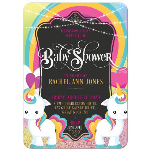 Rainbow Unicorns Baby Shower Party Invite