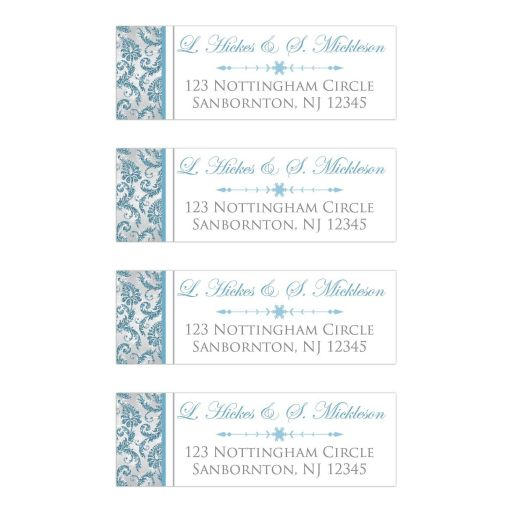 ​Blue, Silver, White snowflakes and glitter wedding return address mailing label for a winter wonderland wedding.