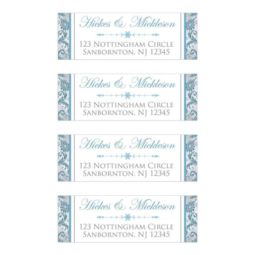 Blue, Silver, White snowflakes and glitter wedding return address mailing label for a winter wonderland wedding.