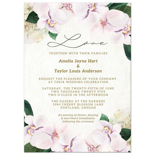 Pretty Blush Floral Wedding Invitations by The Spotted Olive