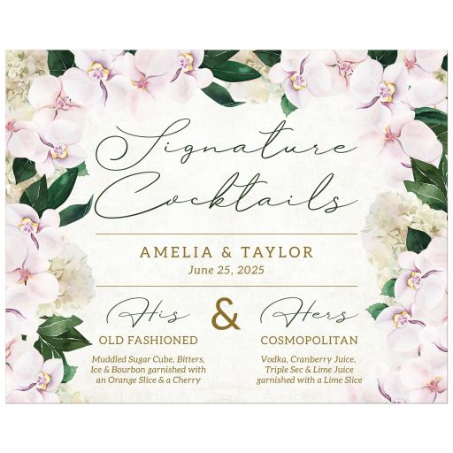 Pretty Blush Floral Signature Cocktails Sign by The Spotted Olive