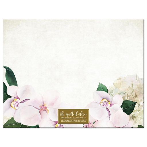 Pretty Blush Floral Personalized Note Cards by The Spotted Olive - Back