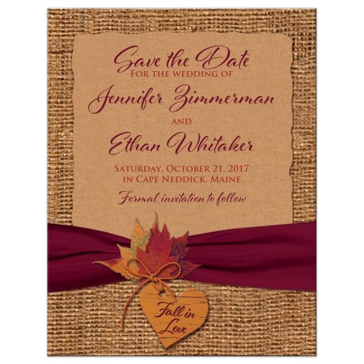 ​Rustic brown burlap and Kraft paper autumn or fall wedding save the date magnet with autumn leaves, orange wood heart, orange twine bow, and burgundy wine ribbon.