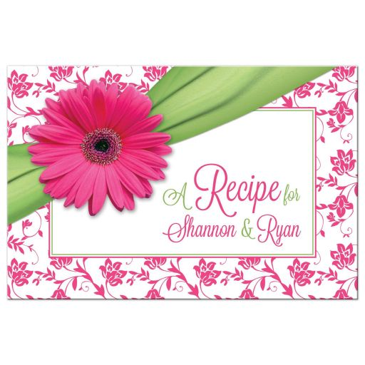 ​Pink, green daisy floral kitchen bridal shower recipe card front