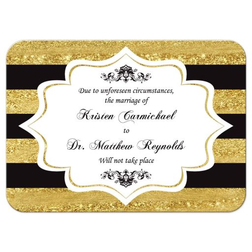 Wedding, special event, ceremony, banquet cancellation card in black white and gold stripes with chandelier and flourishes.