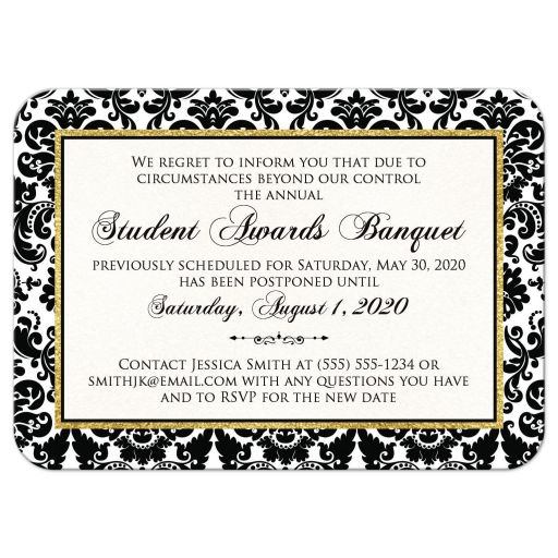 Special event, ceremony, banquet, wedding postponed or canceled card in black white and gold damask pattern with scroll.