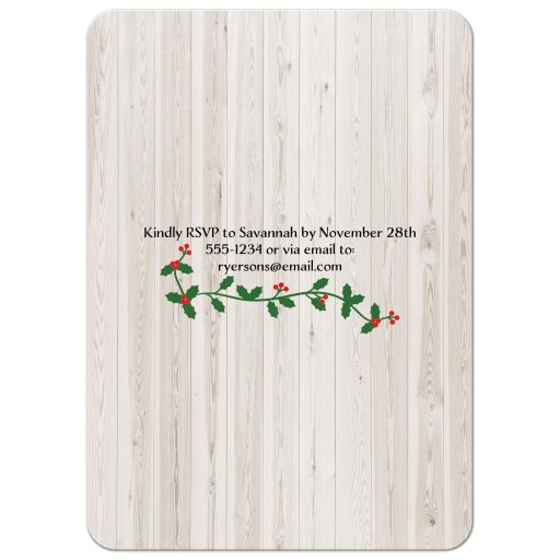 Modern eat, drink & be merry christmas or winter wedding invites with green and red holly and berries.