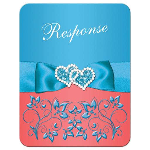 Best turquoiseMalibu blue, white, and coral floral wedding RSVP enclosure card with joined jewel and glitter double hearts brooch, ribbon, bow, and ornate scroll.