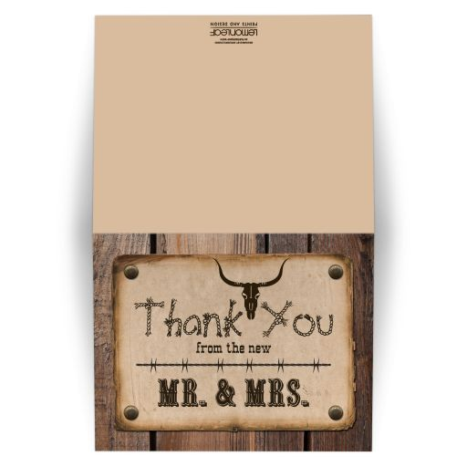​Vintage typography wedding thank you card with a rustic wild west western and wood theme.