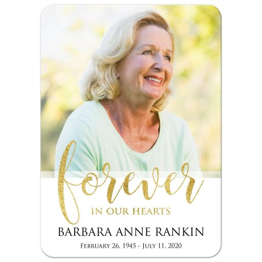 White and gold photo template forever in our hearts memorial card with zoom conference call information.