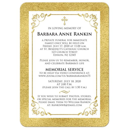 White and gold photo template forever in our hearts memorial or funeral card.