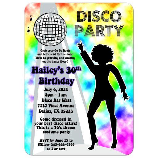 Rainbow 70's Dance Party Retro Disco Invitations