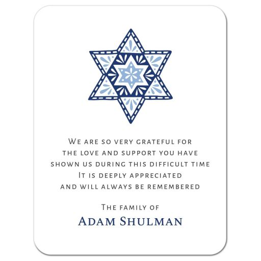 Star of David jewish faith or tradition sympathy thank you cards