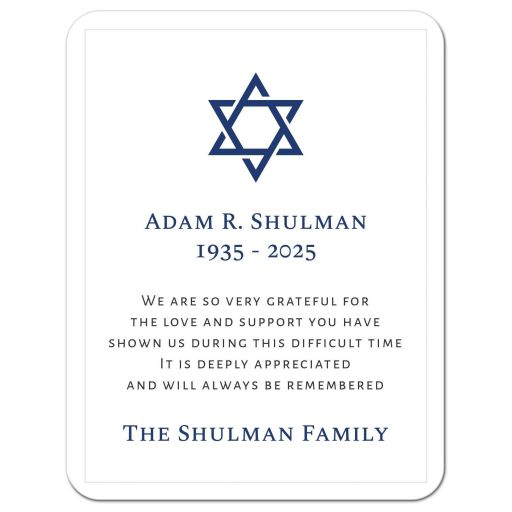 Elegant white and blue funeral condolence sympathy thank you cards