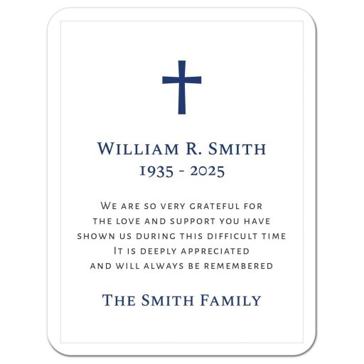 Elegant cross funeral bereavement sympathy thank you cards